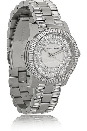 Michael Kors- Crystal-embellished stainless steel watch