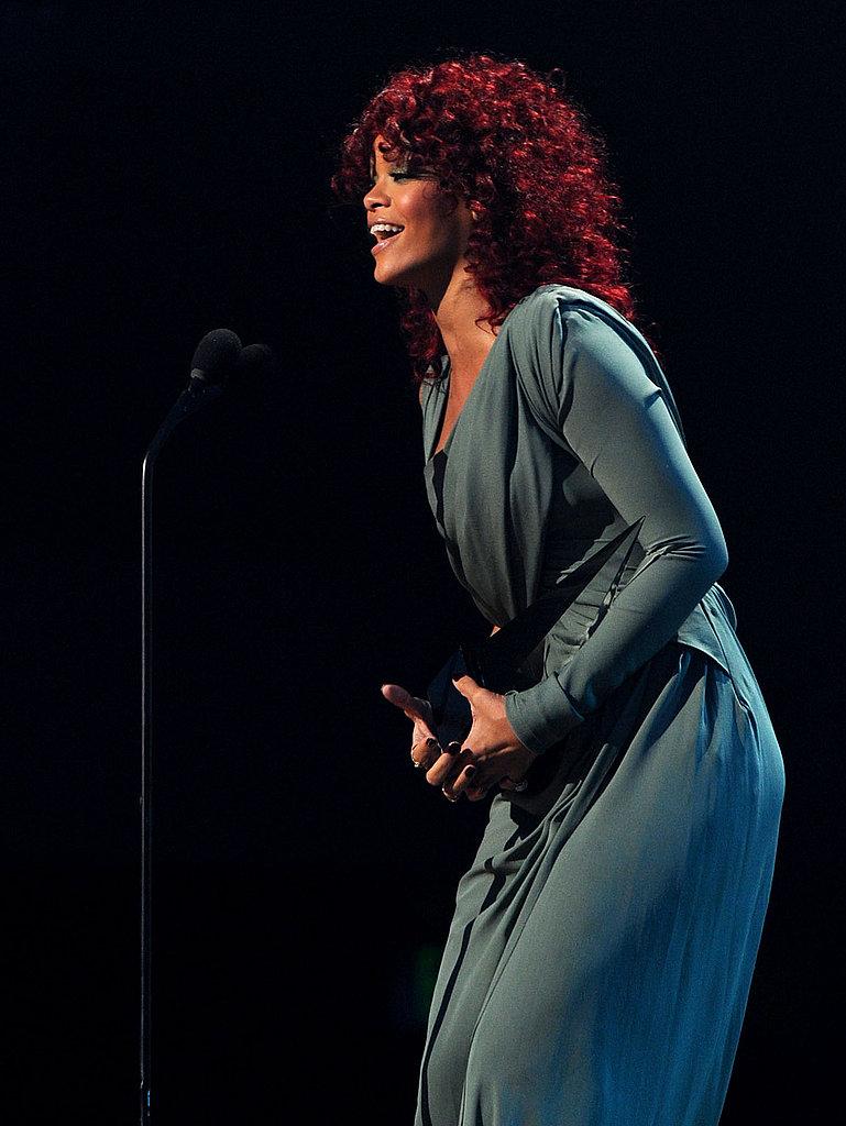 Rihanna's more demure accceptance outfit.