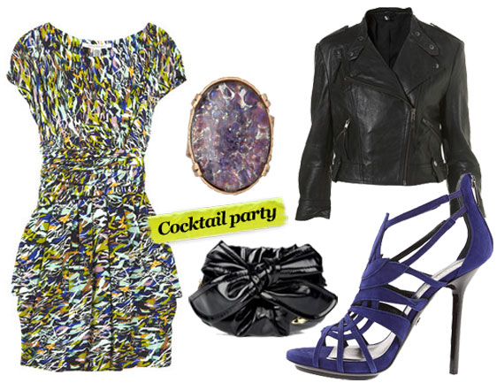 Diane von Furstenberg  Fraley Dress ($375), Alex And Ani Pennies From Heaven Cocktail Ring ($48), Topshop Leather Jacket ($270), Vivienne Westwood Black Bow Cross Body Bag ($317), Emilio Pucci Suede Sandal ($1,295)