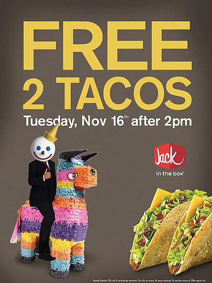 2 Free Jack in the Box Tacos Today, Nov. 16, 2010
