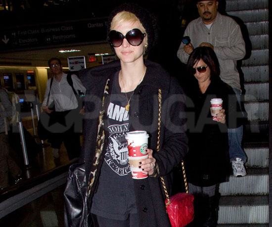 Slide Picture of Ashlee Simpson Landing at LAX