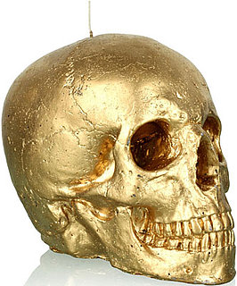 New Realistic Life-Size Skull Candle Covered in Gold For Holiday 2010