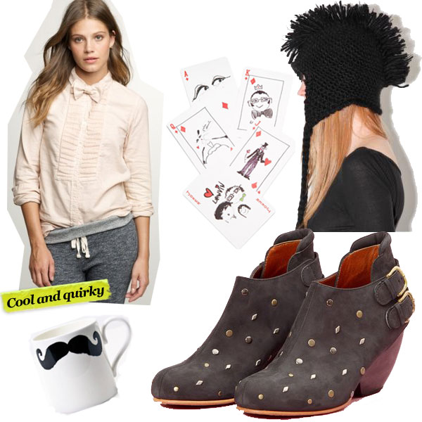 J.Crew Tuxedo Pleat Shirt ($78), Lanvin Playing Cards ($95), Black Mohawk Fringe Cap ($42), Peter Ibruegger Moustache Mug ($29), Rachel Comey Delux Double Buckle Barbaro Booties ($385)