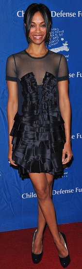 Pictures of Zoe Saldana in Black Ruffled Dress