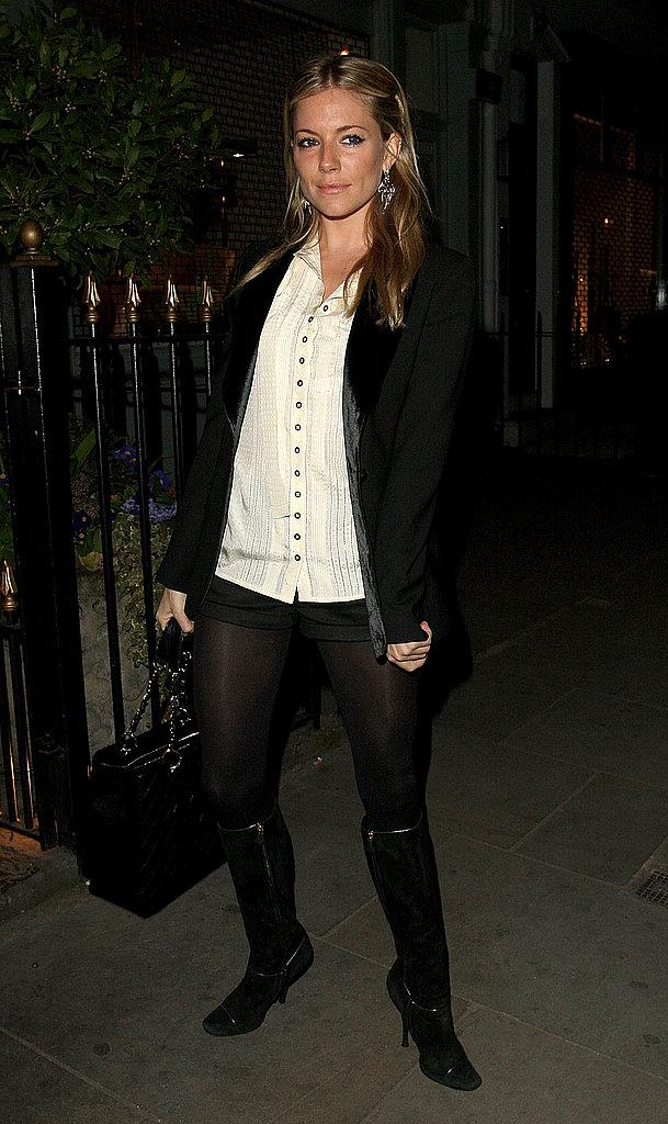 Sienna donned slick layers, boots, and tights for an event in 2009.