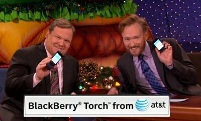 Conan O'Brien Tweets Live During Show, Pimps the BlackBerry Torch