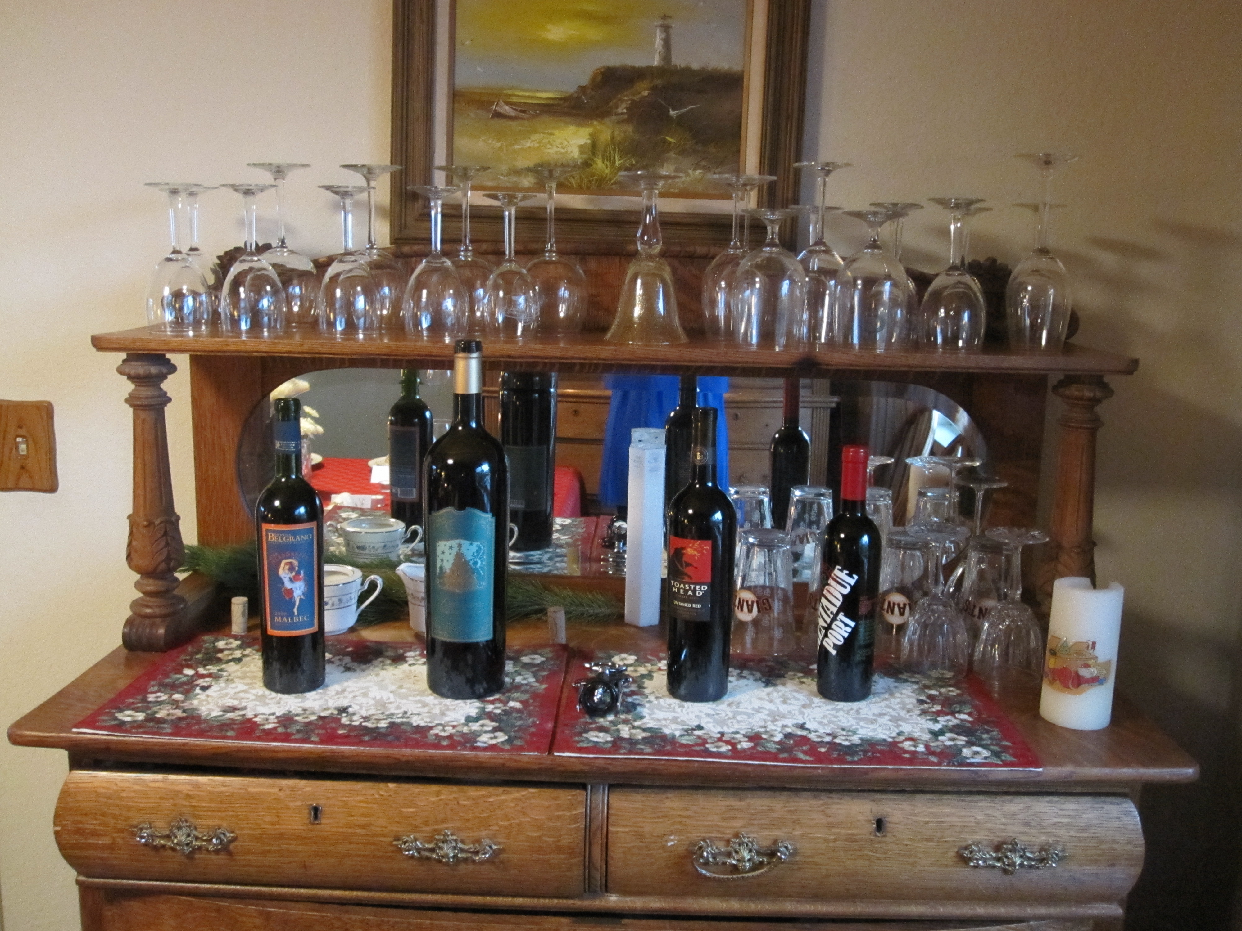 To create a natural flow at our Christmas dinner celebration, we set up stations. This was the red wine station. The white wine, punch, and beer stations were all in different areas of the house.