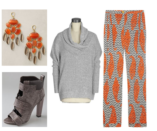 Orange and gray combos are perfect for our bohemian-in-the-city weekend look. Kensie sweater ($78) Tory Burch pants ($195) Alexander Wang heels ($695) Anthropologie earrings ($78)