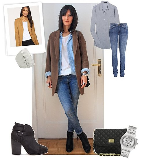 Winter Street Style Look Featuring Camel Blazer and Jeans