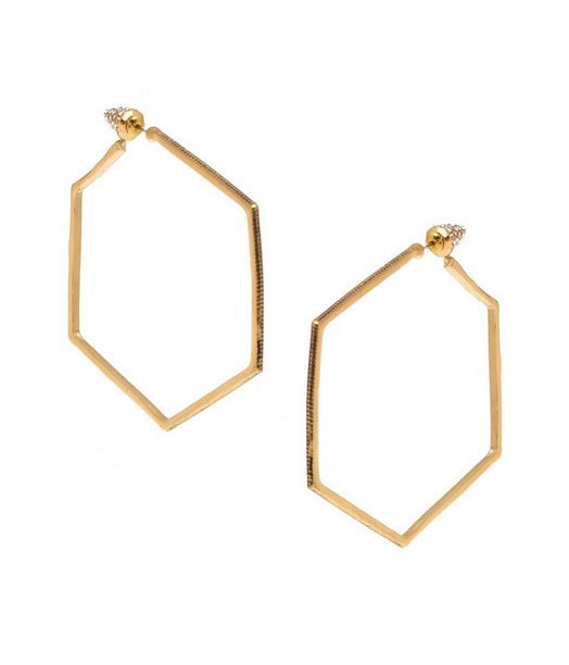 Honey Hexagon Hoop Earrings ($20)