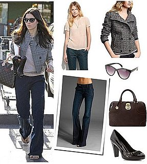 Pictures of Jessica Biel in Tweed Jacket and Wide-Leg Jeans
