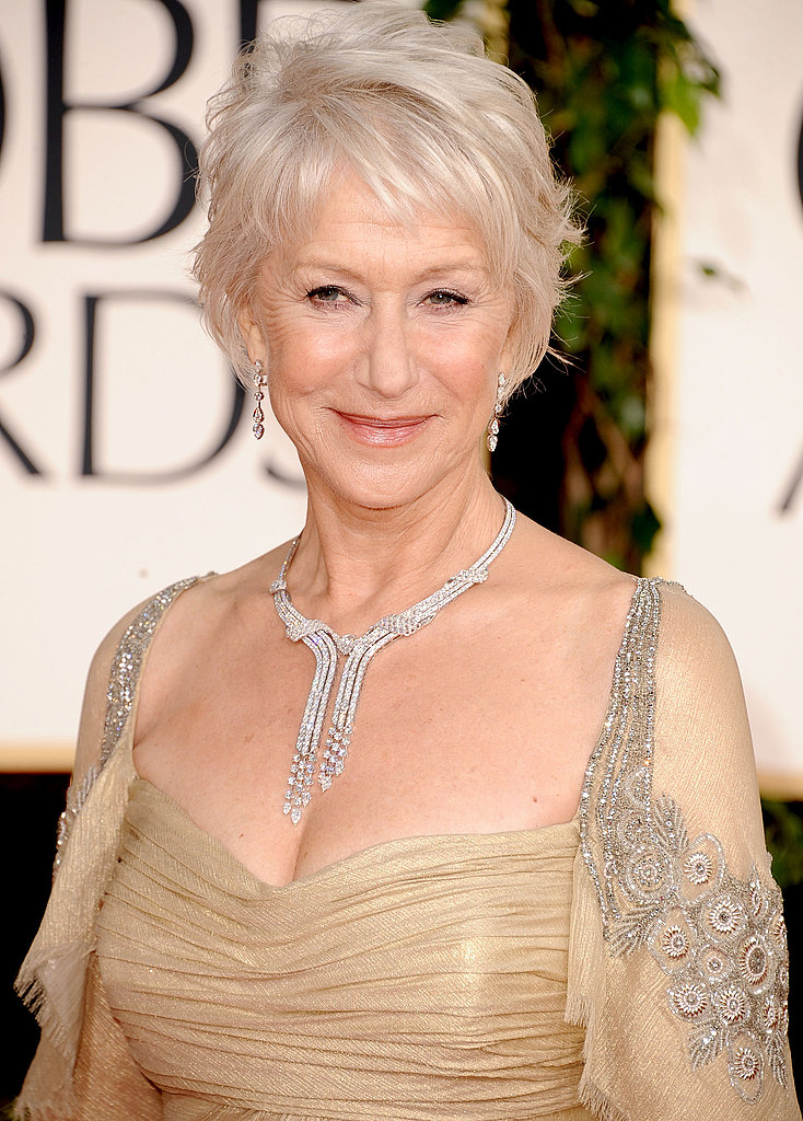 The lovely Helen Mirren wins best necklace of the night, in the shape of a 55-carat diamond necklace from Cartier.