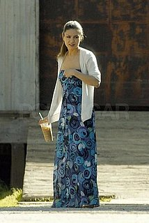 Pictures of Mila Kunis Eating Tacos Outside Her Trailer on the Set of an LA Photo Shoot