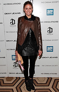 Olivia Palermo Wearing a Leather Skirt and Jacket