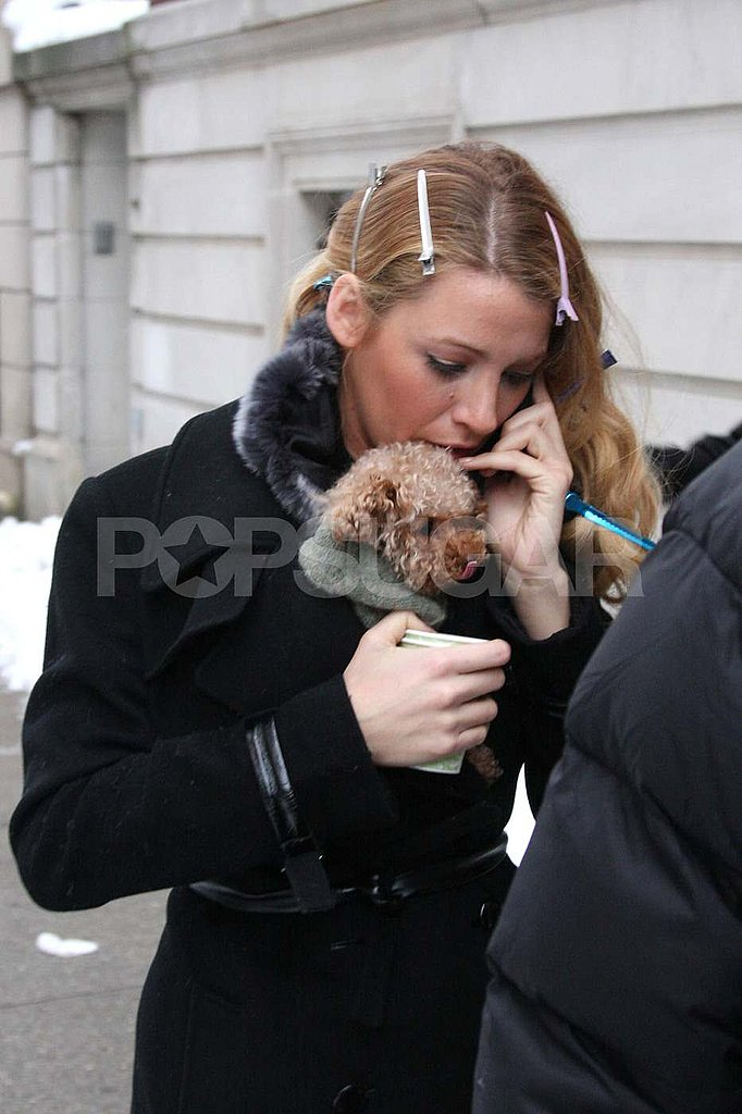 Blake Lively Warms Up to Her Pup on the Gossip Girl Set