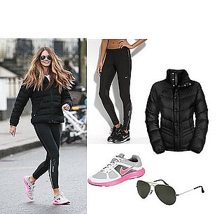 Picture of Elle Macpherson in Nike Shoes and Black Puffer Jacket