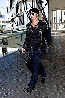 Pictures of Brad Pitt Wearing Leather Jacket at LAX