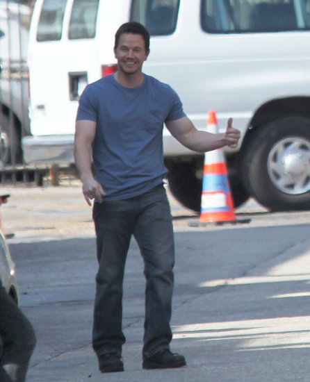 Pictures of Mark Wahlberg Tossing a Football on the Set of Contraband in New Orleans