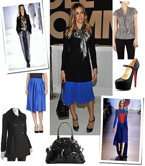 Sarah Jessica Parker Wears Royal Blue Pleated Skirt and Louboutins in NYC