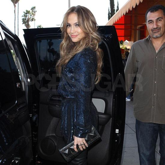 Pictures of Jennifer Lopez Leaving Lunch in LA Wearing a Short Sequin Dress