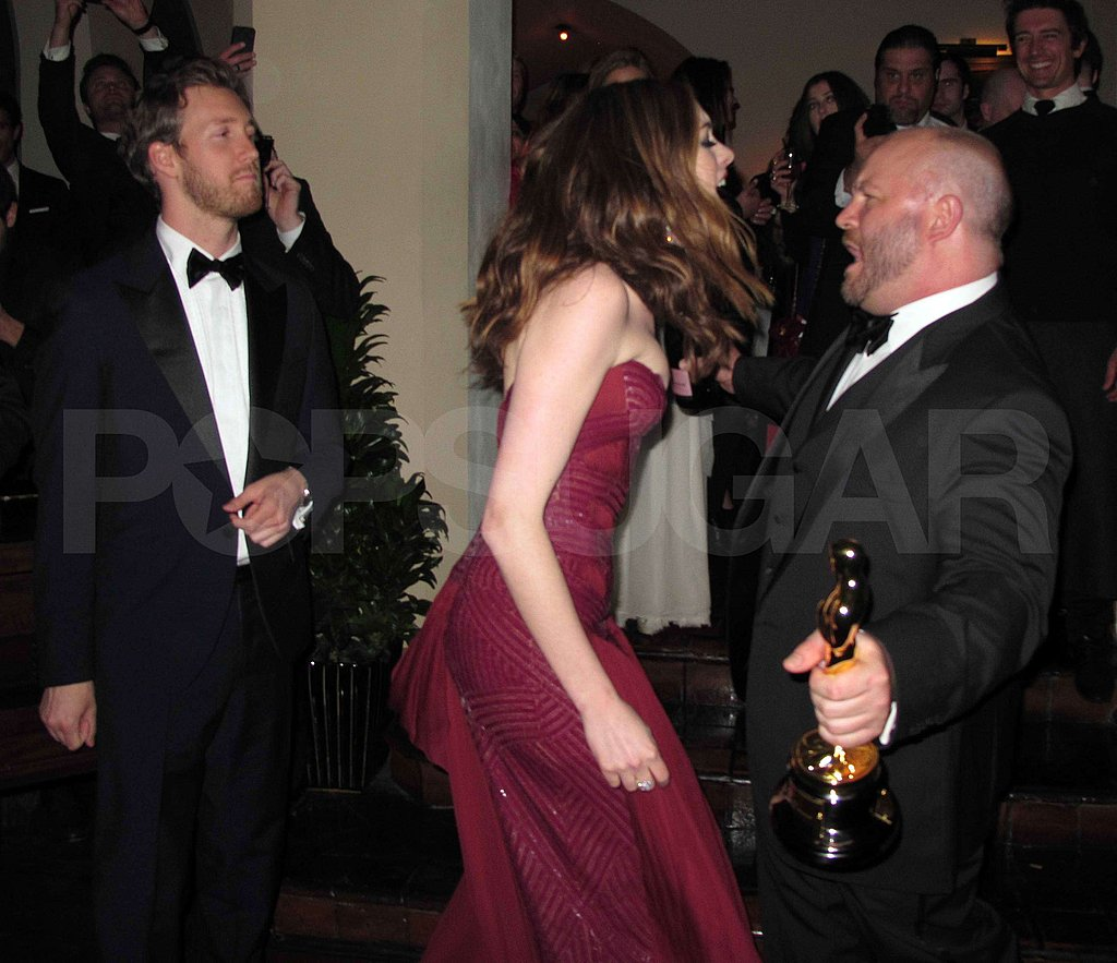 Anne Hathaway Lets Loose, Dances With an Oscar at Weinstein Party!