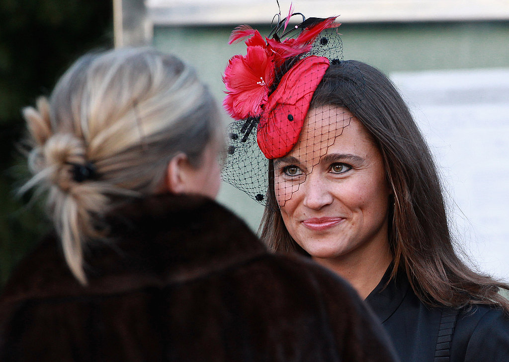"Pippa attended the wedding of Lady Katie Percy and Patrick Valentine at  the ""Hogwarts"" castle in February sporting her signature glow and racy red  fascinator."
