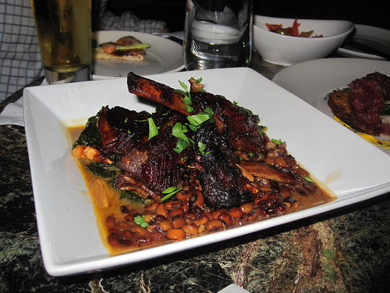 It was starting to get dark (hence the flash) but these lamb riblets were tasty.