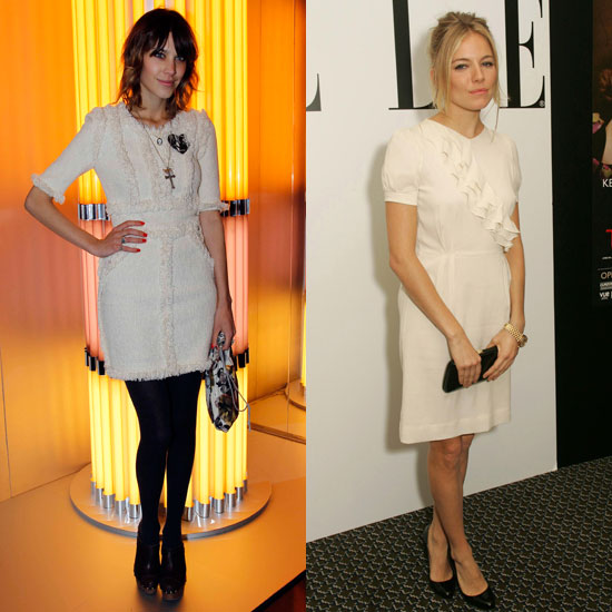 Each with her take on a prim white dress.