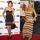 They've both taken their turn in funky, boho-style striped dresses on the red carpet.