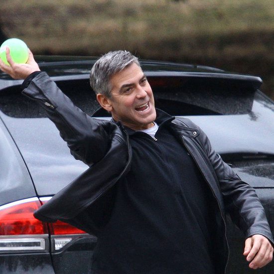 Pictures of George Clooney Playing Catch on the Set of Ides of March in Bloomfield Hills, MI
