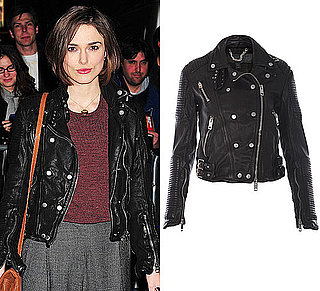 Keira Knightley in a Double Breasted Biker Jacket by Burberry