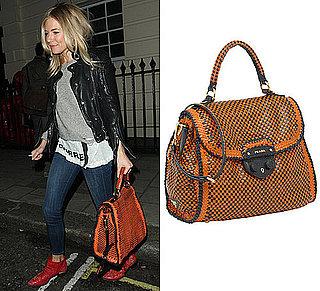 Sienna Miller Carrying Orange Prada Madras Bag