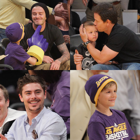 Pictures of David Beckham, Romeo Beckham, Mark Wahlberg, Zac Efron at Lakers Game