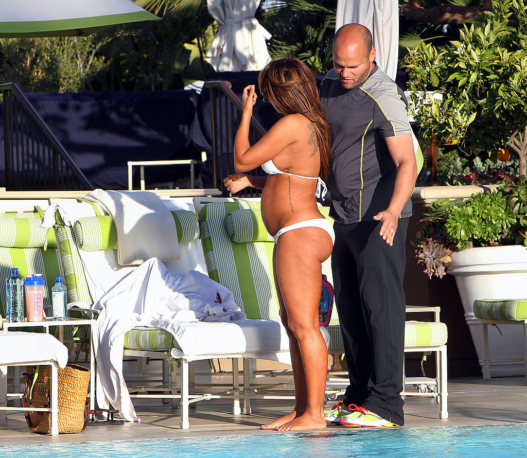 Mel B Lounges By a Pool With Her Baby Bump, Bikini, and PDA-Loving Husband