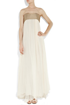 Clean and simple, but with a gorgeous touch of gold.   Chloé Silk-Chiffon Strapless Gown ($3,730)