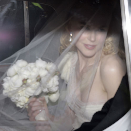 Nicole Kidman arrived at her Sydney ceremony to marry Keith Urban in June 2006 wearing a tulle Nicolas Ghesquiere for Balenciaga gown — we admire the one-shoulder detail.