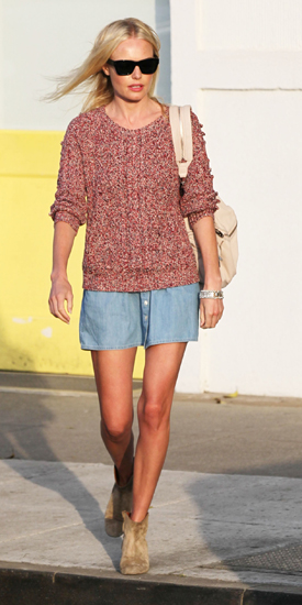 Kate Bosworth Wears Chambray Skirt, Sweater, and Booties While Out in LA