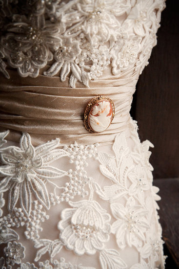 I wore a family heirloom cameo on my dress.