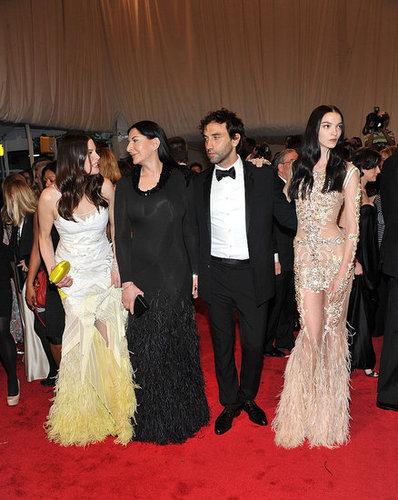 Liv Tyler, Marina Abramovic, and Mariacarla Boscono, all in Givenchy, with Riccardo Tisci