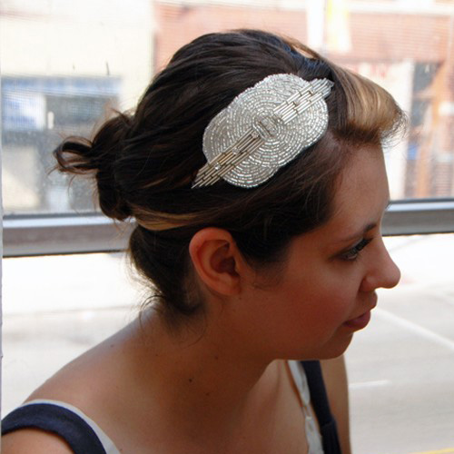 Beaded and Crystal Art Deco Elastic Fascinator ($30)