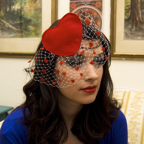 Be Mine Red Heart Valentine With White Birdcage Veil ($45)