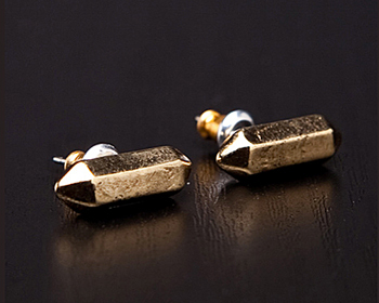 Low Luv x Erin Wasson Metal Crystal Stud in Gold Forward by Revolve, $38