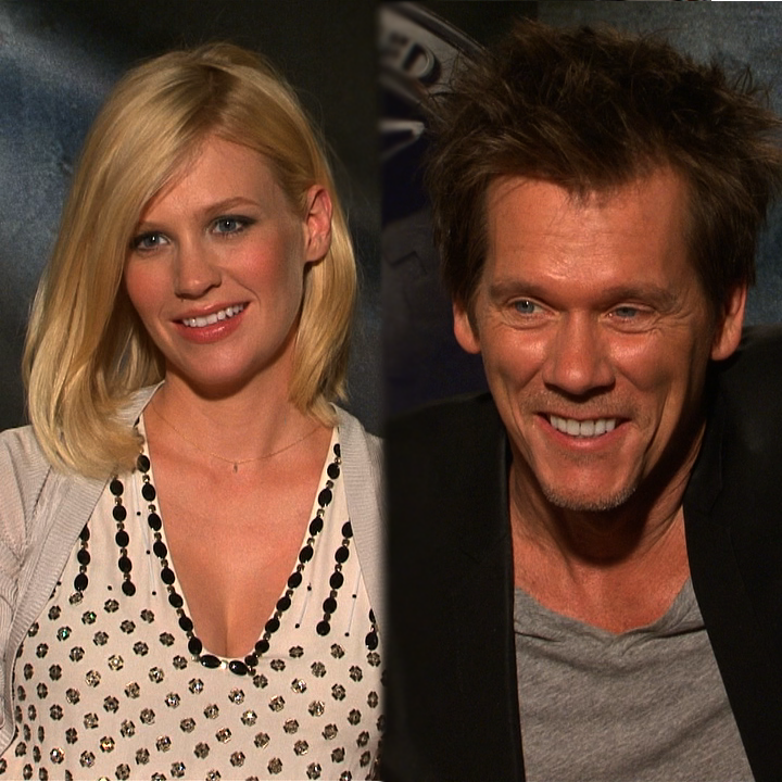 Video Interview of January Jones Talking Motherhood and X-Men: First Class With Kevin Bacon