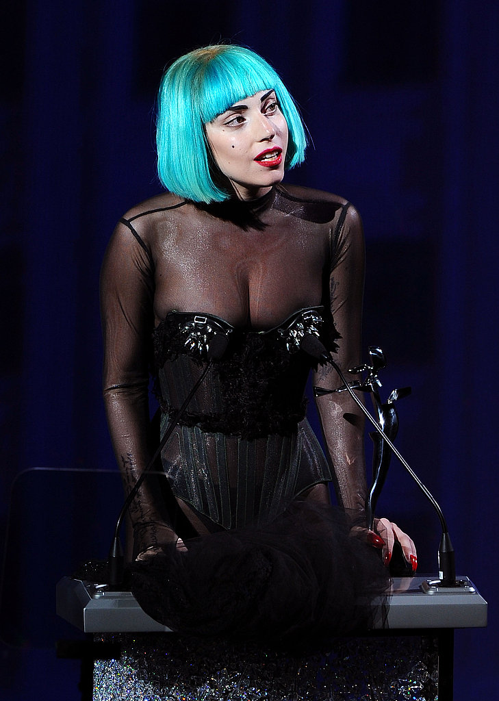 """As part of her acceptance speech, Gaga laughed: """"I can't believe I'm allowed in here. As an anecdote I thought I might tell this story, I wasn't sure. But   when I was told I won this award, Anna Wintour sent me a text message . . . She text messages."""" The crowd cheered as she continued: """"So she sent me a text message, and it said, 'We're so excited   to tell you you won the CFDA Fashion Icon Award. And I actually thought   it was Anna Treblin, who was one of my very close friends and [my   stylist] Nicola [Formichetti]'s assistant, who I go out and have drinks with all the   time. So I have a couple Annas in my phone, so my reply was, 'Yes,   bitch, we did it.' So quite quickly I got a reply that said, 'How   lovely, and we will all be waiting to see what you will wear.' And then I   thought, 'Well won't you be helping me choose what I will wear?' And   then I said, 'Oh! it's Anna Wintour.'"""""""