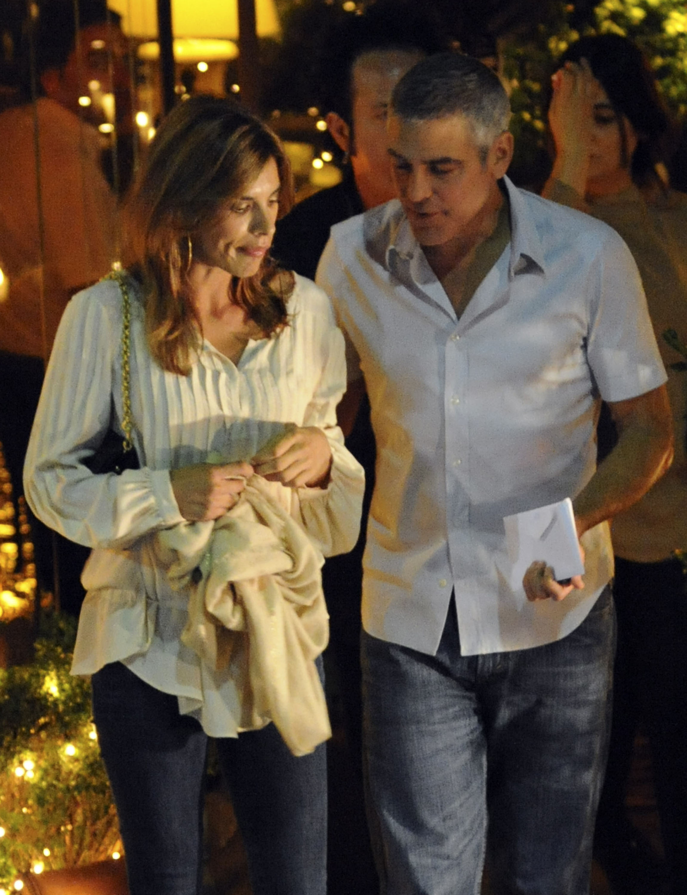 George Clooney and Elisabetta Canalis Have a Candle-Lit Italian Date Night