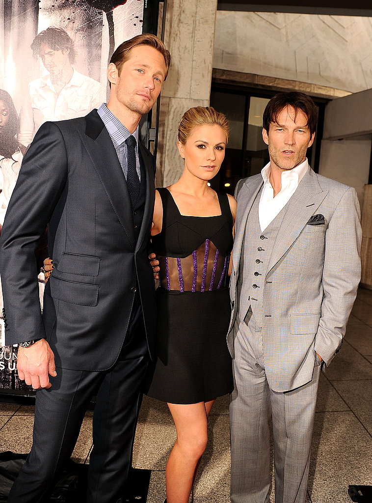 Anna Paquin was flanked by her leading men Alexander Skarsgard and Stephen Moyer at the True Blood premiere.
