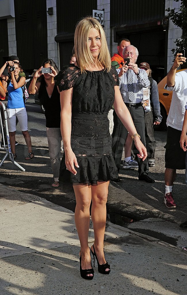 Jennifer Aniston made a swift arrival in NYC.