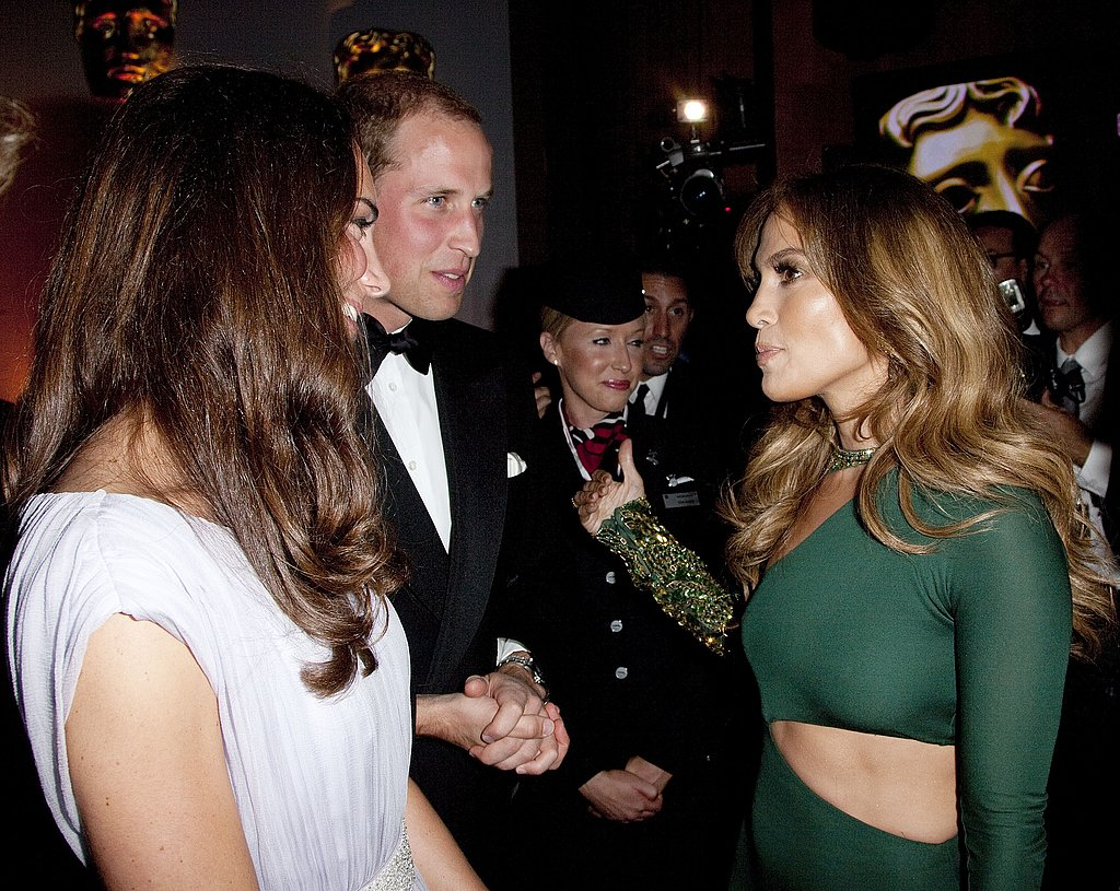 Jennifer Lopez talking to Prince William and Kate Middleton at BAFTA Brits to Watch event in LA.