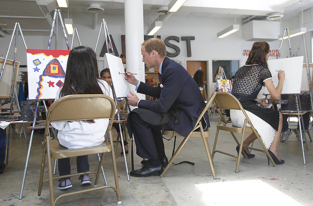 Prince William and Kate Middleton paint at Inner City Arts in LA.