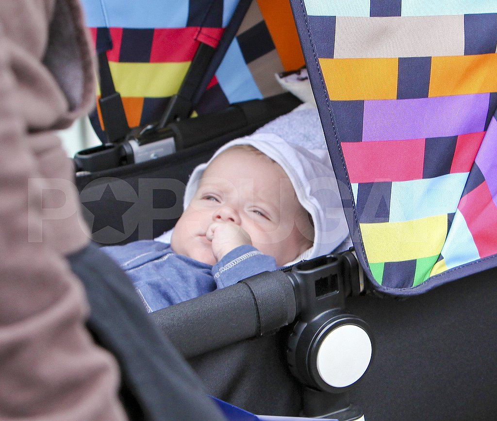 Skyler Berman was cozied up in his stroller for a day out in Malibu.
